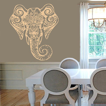 Wall Decals Vinyl Decal Ganesha Decorated Indian Elephant Animals Home Vinyl Decal Sticker Kids Nursery Baby Room Decor kk163