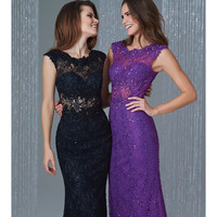 Preorder - Madison James 16-378 Purple Sheer Paneled Lace Gown 2015 Homecoming Dresses
