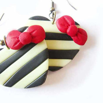 Black and white Heart earrings- Polymer clay Hand sculpted