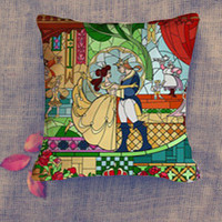 beauty and the beast stained glass Pillow Case/ Pillow Cover/ 16 x 16/ 18 x 18/ 16 x 24/ 20 x 30/ 20 x 36