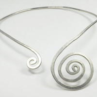 Silver Aluminium collar, necklace, swirl, spiral FREE SHIPPING to italy