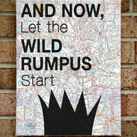 "Where the Wild Things Are - ""And Now Let The Wild Rumpus Start"" - Vintage Map Art"
