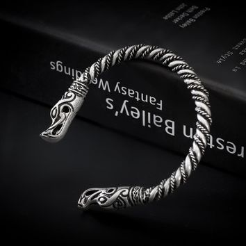 1pc Wolf Heads Norse Vikings Nordic Handmade Torc Twisted Wire Bracelet Wristband Cuff Friend Gift