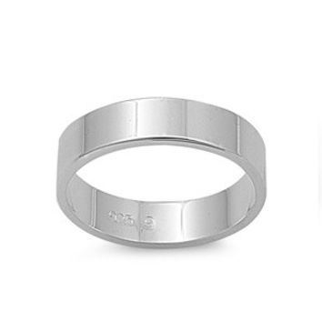925 Sterling Silver Plain Cigar Band Style 5MM Ring