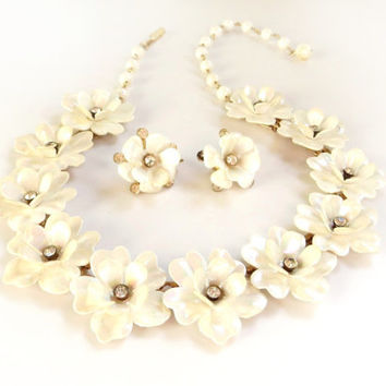 Vintage Coro Rhinestone Flower Necklace and Earring Set, White Floral Necklace, Gold Tone Metal