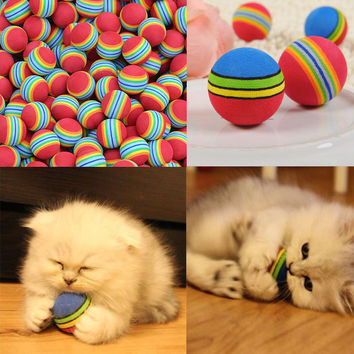 4pcs/lot Soft Rainbow Ball Funny Cat Toy