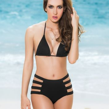 Black Strappy High Waist Swimsuit Bottom