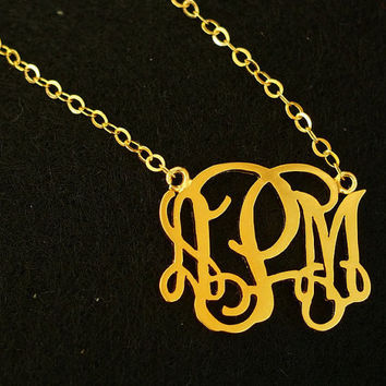 "1"" Gold monogram necklace, 3 initial necklace for mother women, 18k gold sterling silver monogrammed necklace Personalized Monogram necklace"