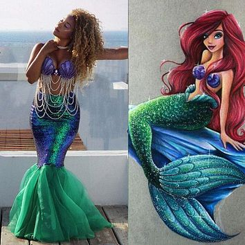 Womens Halloween cosplay Costume Fancy club Party Sequins Long Tail new Sexy green rose red Mermaid adult princess