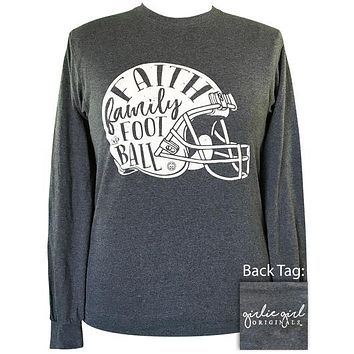 Girlie Girl Originals Faith Family Football Fall Long Sleeve T-Shirt