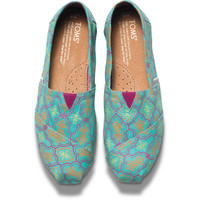 Turquoise Moroccan Print Women's Classics | TOMS