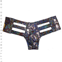 Black Hologram Cutout Bottoms
