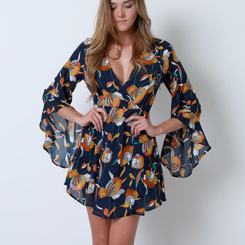 Dream Flowers Dress - Navy Floral Print