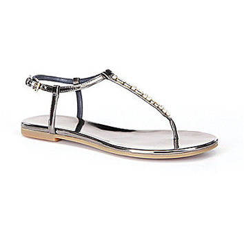 Cole Haan Effie Jewel Flat Sandals - Gunmetal