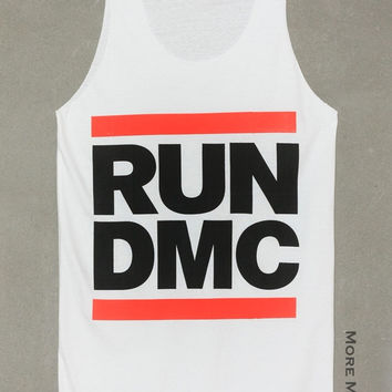 Run D.M.C. Rapper Hip Hop White Tank Top Singlet Vest Tunic Sleeveless Women Tee Shirt Punk Rock Music T-Shirt Size S-M