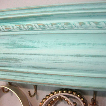 Jewelry Hanger Oganizer / Accessory Organization / Aqua Light Turquoise Distressed / Wall hanging Hooks