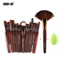 3Color 22Pcs Pro Eyeshadow Powder Foundation Eyeliner Lip Facial Makeup Brushes Set Sponge Puff Fan Brush Cosmetic Beauty Tools
