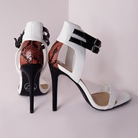 CONTRAST DOUBLE ANKLE STRAP SANDALS WHITE