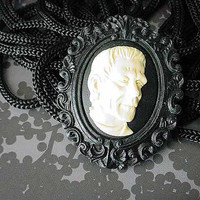 Frankenstein Cameo Brooch  Halloween Brooch  Black White  Universal Monsters  Under 15