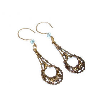 Swarovski Aquamarine Crystal  Earrings  , Vintaj Earrings ,  Filigree Dangle Earrings , Antique Brass Filigree  Earrings
