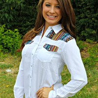 Our Mysterious Ways Button Up Top in White is perfect to pair with your favorite pair of jeans. It features opalescent buttons, cuffed long sleeves, and a needlepoint colorful aztec design on shoulders, back and on both chest pockets.