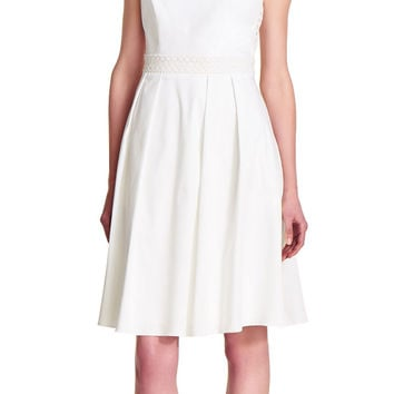 Cotton Fit and Flare Dress with Lace Inset - Adrianna Papell