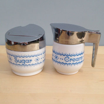 Gemco Blue Snowflake Cream and Sugar Bowl Set - Blue Nd White Pyrex Type Glass