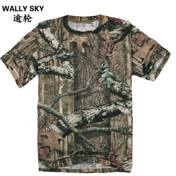 Summer Men's Bionic Hunting Camouflage Hunting Camping Suit T-shirt Camo Short sleeve T-shirt Tactical MIlitary Suit Clothing