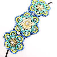 Jamie Beaded Rhinestone Stretch Headband