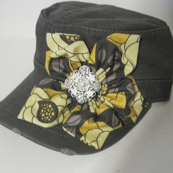 Cadet Hat Womens Distressed Charcoal Grey with Petal Flower and Rhinestone Accent Accessories Hats Petal Flower Cap Military Hats