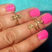 Above the Knuckle Rings Swirly  -  Above Knuckle Ring  - Set of 2 by Tiny Box