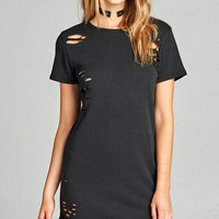 Distressed French Terry Dress - Black