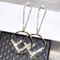 Fendi Fashion New Letter More Diamond Long Earring Women Accessories Golden
