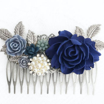 Blue Wedding Comb, Silver Bridal Hair Comb, Sapphire, Navy, Dark Blue Flowers, Rhinestones, Pearl, Romantic Hair Slide, Big, Long Hair Pin