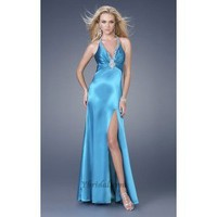 A-Line V-halter Floor-Length Elastic Satin Prom Dress SAL0951