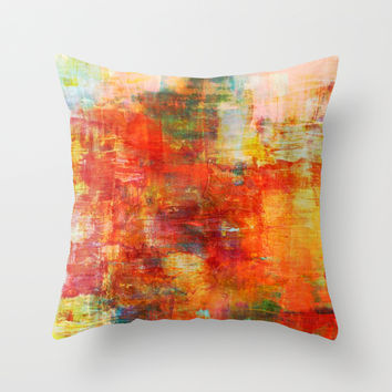 AUTUMN HARVEST - Fall Colorful Abstract Textural Painting Warm Red Orange Yellow Green Thanksgiving Throw Pillow by EbiEmporium