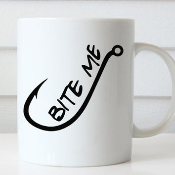Bite Me Mug, Funny Coffee Mug, Funny Mugs, Coffee Lovers Gift, Birthday Gifts, Quote Coffee Mug, Quote Mug, Typography Mug, Christmas Gift