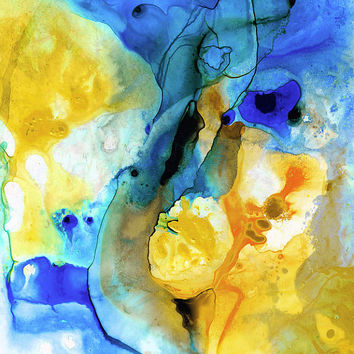 Blue And Yellow Abstract Art PRINT from Painting Modern Landscape Decor Beach Lemon Royal Navy Orange Contemporary Big CANVAS Ready To Hang