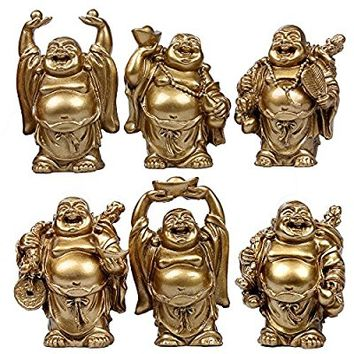6pcs Resin Statue Laughing Buddha Laughing Buddha Statue Figurines Lucky Buddha Happy Buddha Feng Shui Buddha Laughing Buddha Set Of 6 (2.5'' gold)