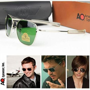 Aviation Sunglasses Men 2018 driver shades pilot American Army Military Optical AO policeman Sun Glasses Male Oculos de sol