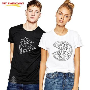 Try Everything Pizza Couple T Shirts For Lovers Casual Matching Couple Clothes Summer Men And Women Valentine's Tops Tees