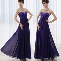 Gamiss HOT Sexy Lace-up Long Chiffon Dress Evening Formal Party Ball Gown Prom Bridesmaid Wedding Dress = 1841355332