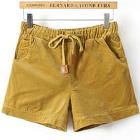 Yellow Drawstring Waist Corduroy Shorts