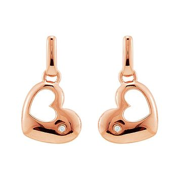 Diamond Accent Heart Dangle Earring in 14k Rose Gold Plated Silver