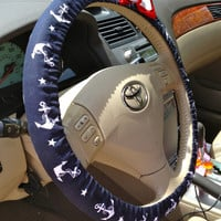 Steering Wheel Cover Navy & Red Anchor Fabric w/Red Bow, Teen, Girl, Women, Gifts, Car, Auto accessories, Anchor, Sailor