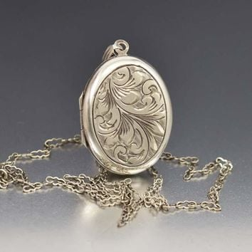 English Silver Engraved Floral Locket Necklace