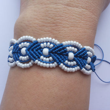 Blue and white micro macrame bracelet