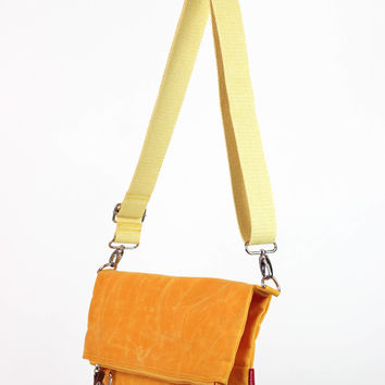 Waxed canvas foldover yellow bag removable cotton or vegetable leather strap shoulder crossbody bag small and large usage waterproof