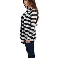 Stripes Galore Black and White Knit Jacket