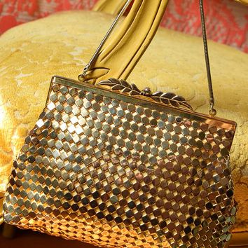 Vintage Gold Large Tile Mesh Evening Bag